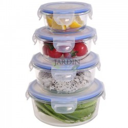 Set 4 round glass lunch boxes 210, 400, 650 and 950 ml