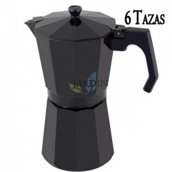 Cafetera aluminio negro de inducción 6 tazas