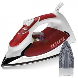 2200W steam iron, red ceramic coated soleplate