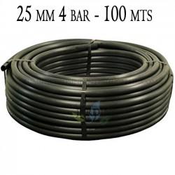 Tubería Agrícola 25mm 4 bar 100mt negro