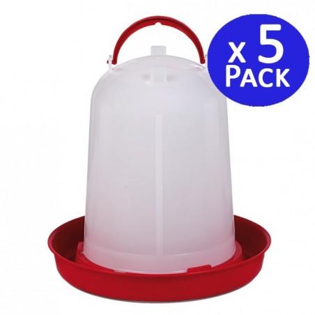 Bebedero pollos 3 litros rojo. Pack 5 unidades