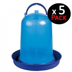 Bebedero pollos 3 litros azul. Pack 5 unidades