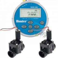 """Kit Programador de riego a pilas NODE200 Hunter + 2 Electroválvulas PGV100 9V 1"""""""