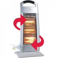 Estufa halógena 400-800-1200W oscilante, color plata