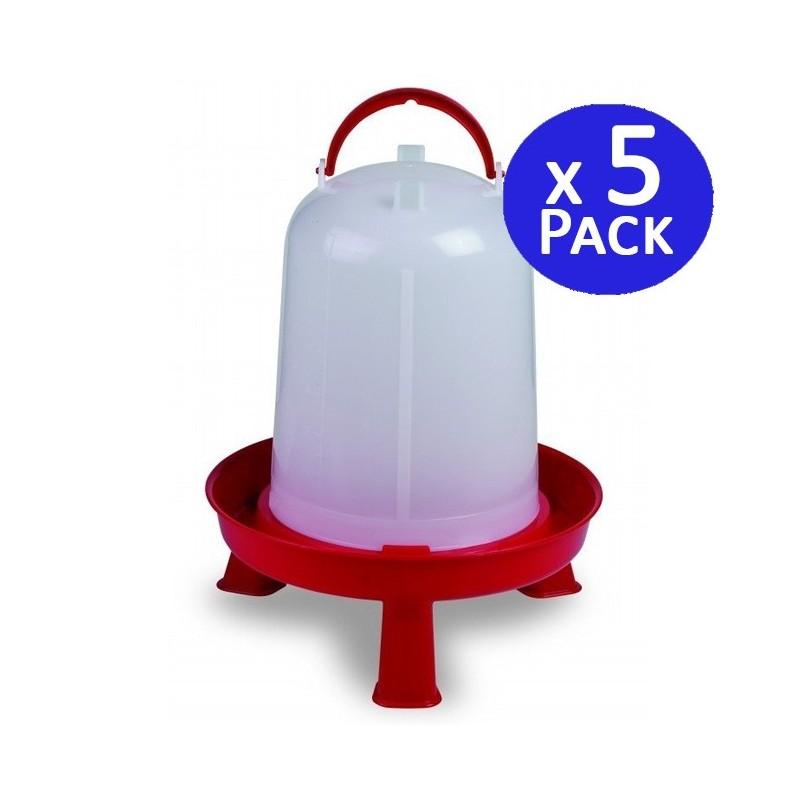 Bebedero gallinas 8 litros rojo. Pack 5 unidades
