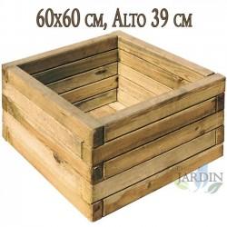 Macetero cuadrado de madera 60x60 cm, alto 39 cm