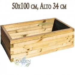 Macetero de madera 50x100 cm, alto 34 cm
