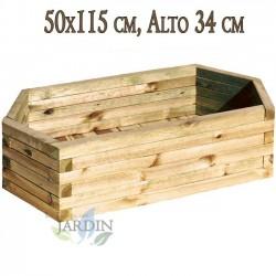 Macetero de madera 50x115 cm, alto 34 cm