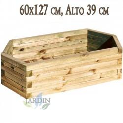 Macetero de madera 60x127 cm, alto 39 cm