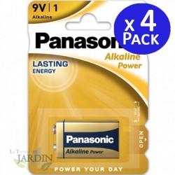 Pila 9V Alcalina Panasonic larga duración. 4 unidades