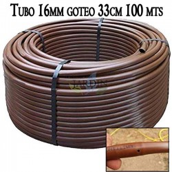 Pipe 16mm drip irrigation to 33cm brown, 100 meters