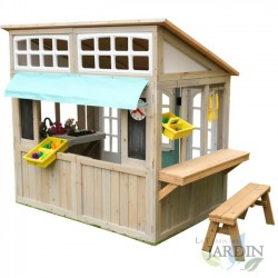 Wooden garden house with market