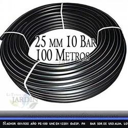 Tuberia Polietileno Alimentaria 25mm 10 bar 100m PE100 alta densidad