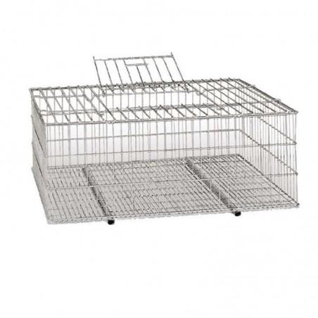 Jaula metálica para transporte de aves 73x52x30 cm