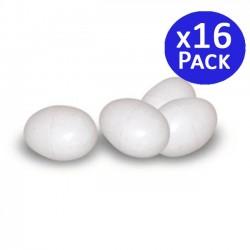 Huevos plásticos de gallinas. Pack 16 unidades