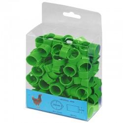 Grüne Kunststoffringe für Hühner. Packen Sie 100 Einheiten