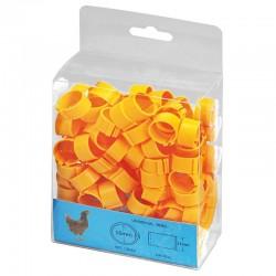 Gelbe Plastikringe für Hühner. Packen Sie 100 Einheiten
