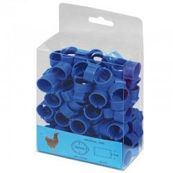Blaue Plastikringe für Hühner. Packen Sie 100 Einheiten