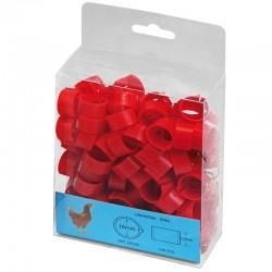 Rote Plastikringe für Hühner. Packen Sie 100 Einheiten