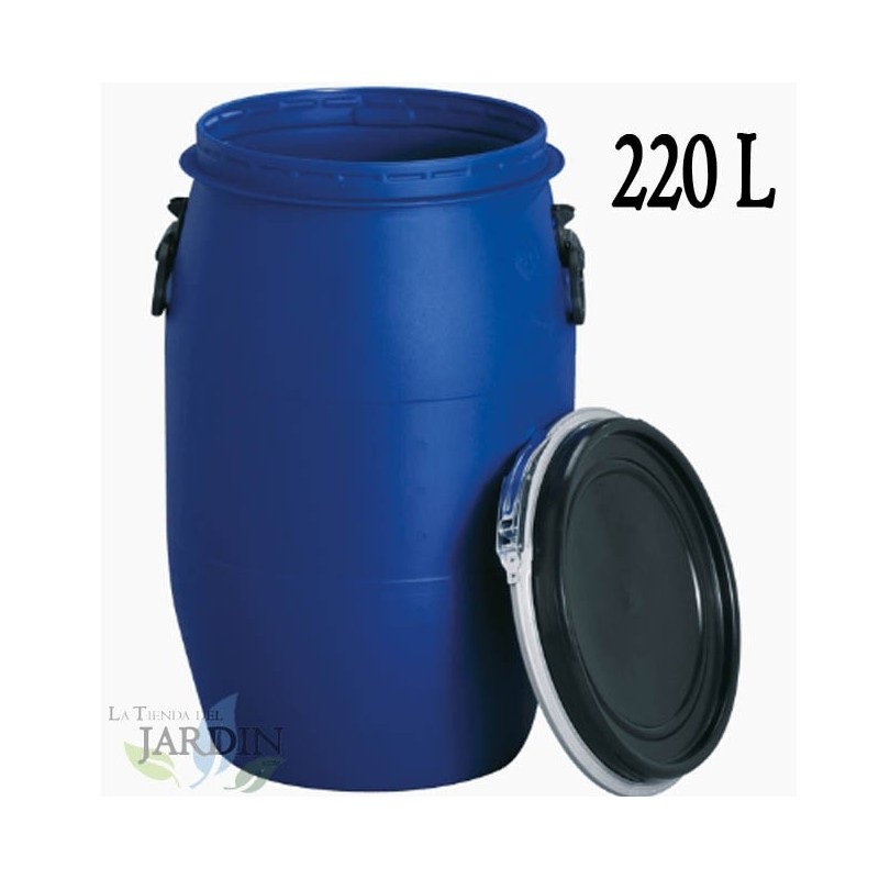 calidad alimentaria con tapa 60 L Barril de polietileno azul 22095