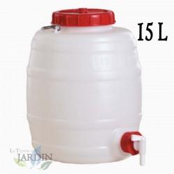 Food polyethylene barrel 15 liters for liquids and beverages