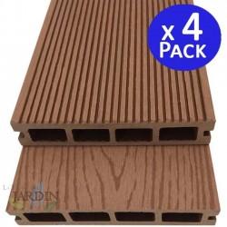 Tablón jardin composite madera 200 x 14,6 x 2,5 cm. 4 unidades