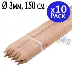 Poste tutor de madera 150 cm, diámetro 3 cm. 10 unidades