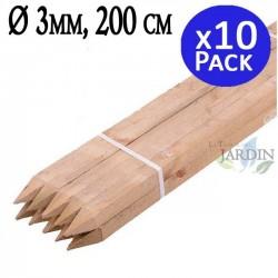Poste tutor de madera 200 cm, diámetro 3 cm. 10 unidades