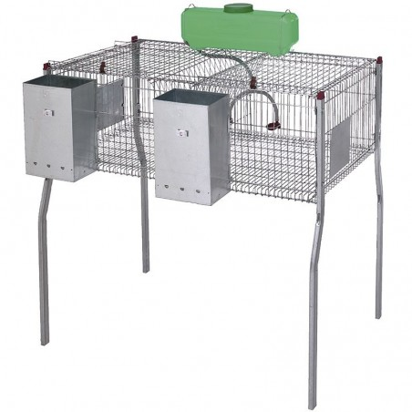 Rabbit cage equipped with hoppers and troughs