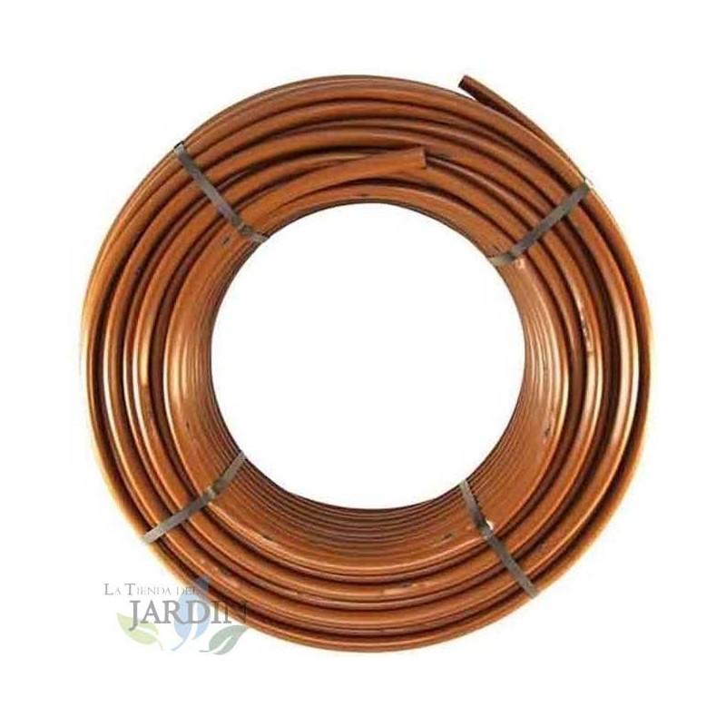 Caudal 2,5 l//h TUBERIA de Goteo marr/ón 16mm con GOTEROS integrados a 33 cm Tuber/ía polietileno Agr/ícola fabricada en Espa/ña Espesor pared 1 mm Bobina 100 METROS