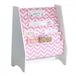 Librería de tela infantil 61x30x71 cm. Rosa y blanco