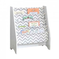 Librería de tela infantil 61x30x71 cm. Gris y blanco