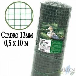 Malla verde metálica, cuadro 13mm. Valla plastificada 0,5 x 10 metros