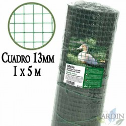 Green metallic mesh, 13mm frame. 1 x 5 meter laminated fence