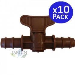 Llave de paso goteo marrón 16mm. 10 unidades