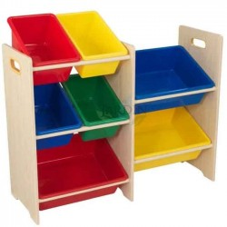 Shelf for storing toys with 7 cubes. Primary and natural colors