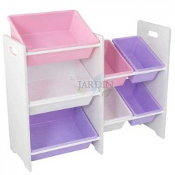 Shelf for storing toys with 7 cubes. Pastel and white colors