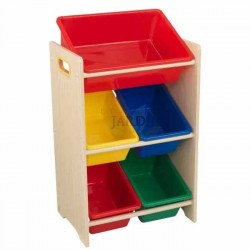 Shelf for storing toys with 5 cubes. Primary and natural colors