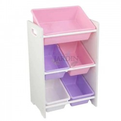 Shelf for storing toys with 5 cubes. Pastel and white colors