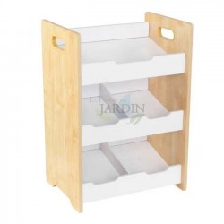 Wooden shelf with angled cubes