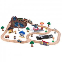 Wooden train set with mountain design