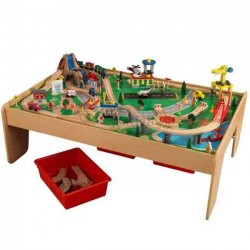 Train set with wooden table in mountain design with waterfall