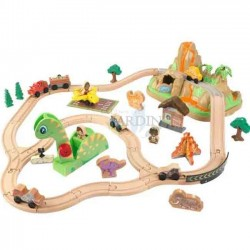 Wooden train set with dinosaur design