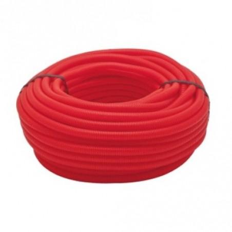 Tubería Corrugada rojo 16mm, bobina 50 metros