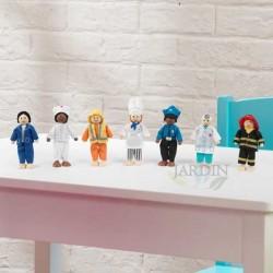 Set de muñecas de madera profesiones