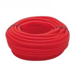 Tuyau ondulé rouge 13 mm, bobine 50 mètres