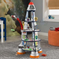 Wooden space rocket game