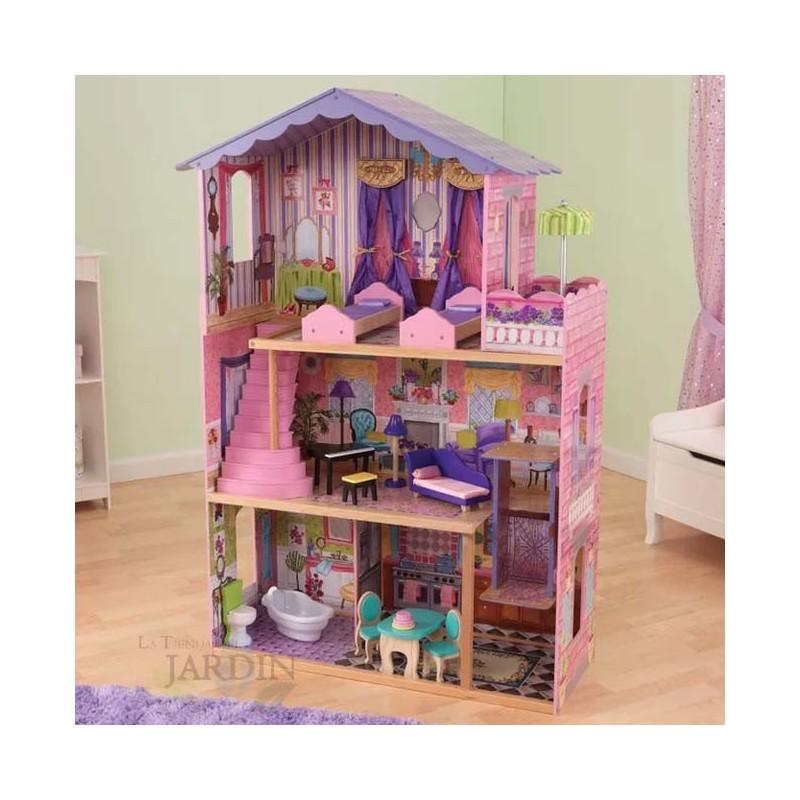 KidKraft 65082 Casa de mu/ñecas de madera My Dream Mansion para mu/ñecas de 30/cm con 12 accesorios incluidos y 3 niveles de juego