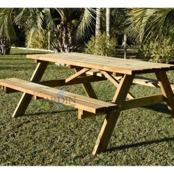 Mesa Picnic exterior madera 177x152x71 cm con bancos abatibles