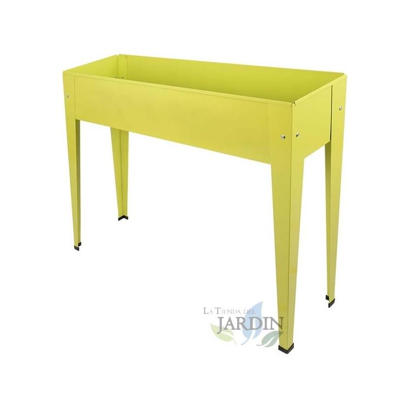 Mesa de cultivo metálica rectangular 98 x 25 x 82 cm amarilla